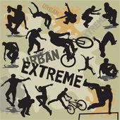 Ställa in vektor silhuetter urban extremsport — Stockvektor