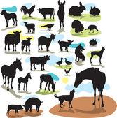 设置矢量剪影农场动物 — 图库矢量图片