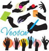 Vector set manos siluetas — Vector de stock