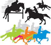 Set horse rider vector silhouettes — Stock Vector