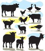 Conjunto de animales de granja vectorial siluetas — Vector de stock