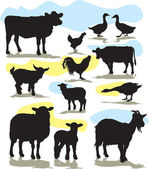 Set vector farm animals silhouettes — ストックベクタ