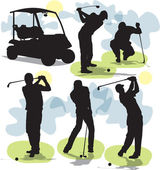 Set vector siluetas de golf — Vector de stock