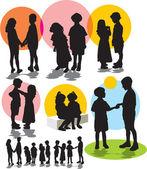 La valeur vector silhouettes avec enfants — Vecteur