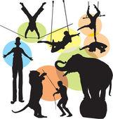 Ställa in vektor cirkus silhuetter — Stockvektor