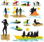Festlegen von vektor-silhouetten am strand — Stockvektor