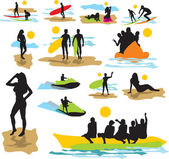 Set vector silhouettes on the beach — Vector de stock