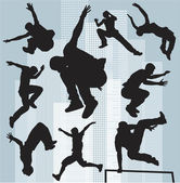Set vector silhouettes parkour — Vettoriale Stock