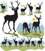 设置矢量鹿剪影 — 图库矢量图片