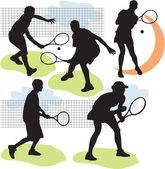 Ställa in vektor tennis silhuetter — Stockvektor