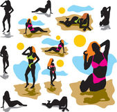 Set silhouettes women in swimwear — Stock Vector