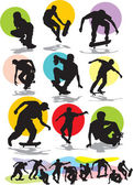Set vector silhouettes of skaters — Stock Vector