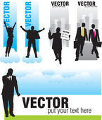 Set banners with silhouettes of businessmen — 图库矢量图片