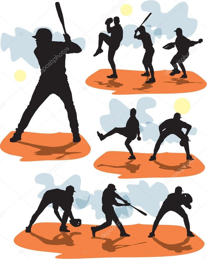 Set vector editable and scalable baseball silhouettes — Stock Vector #12851692