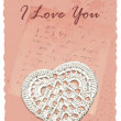 Vintage romantic card with heart — Grafika wektorowa