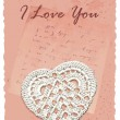 Vintage romantic card with heart — Stock Vector