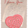 Vintage romantic card with heart — Stockvectorbeeld