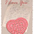 Vintage romantic card with heart — Imagen vectorial