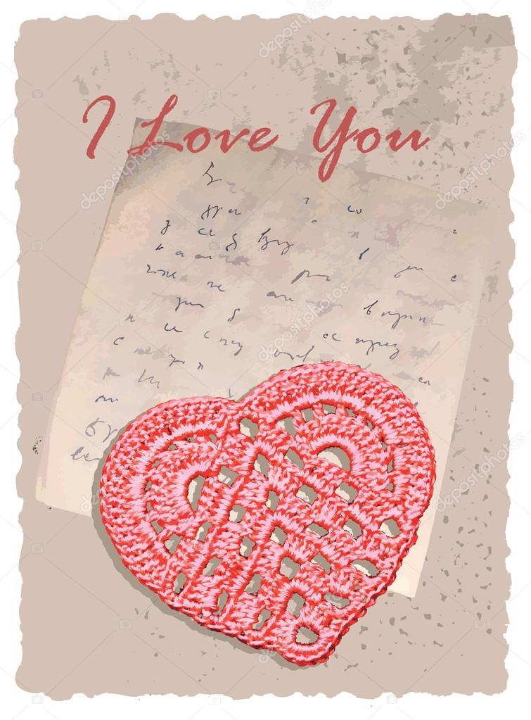 Vintage romantic vector editable and scalable card with heart — Stock Vector #12947741