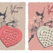 Vintage card with heart and blossom plum — Stok Vektör