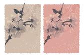 Vintage bakgrund med blossom plommon — Stockvektor