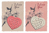 Vintage card with heart and blossom plum — 图库矢量图片