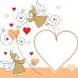Greeting card with elves and hearts — Imagen vectorial