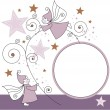 Greeting card with elves, stars and ball — Imagen vectorial