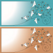 Invitation card with birds - Stock Vector