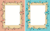 Baby photo frame with birds — Vector de stock