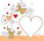 Greeting card with elves and hearts — Stockvector