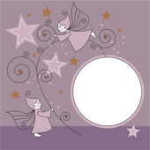 Greeting card with elves, stars and ball — Stockvektor
