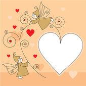 Tarjeta de felicitación con los elfos y los corazones — Vector de stock