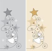 Cartes de voeux avec les elfes et les étoiles — Vecteur