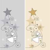 Greeting cards with elves and stars — Stok Vektör