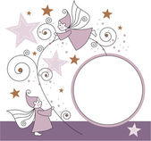 Greeting card with elves, stars and ball — Stockvector
