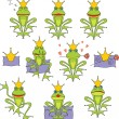 Set prince frog emotion expressions — Stock vektor