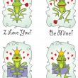 Set valentine's day greeting card with frog prince — Stockvectorbeeld