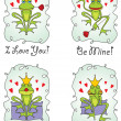 Set valentine's day greeting card with frog prince - Stock Vector