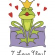Valentine's day greeting card with the prince frog - Stock Vector
