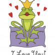 Valentine's day greeting card with prince frog — Stock Vector #13631086