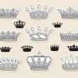Stock Vector: Set vector crowns