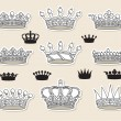 Set vector crowns - Stock Vector