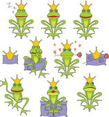 Set prince frog emotion expressions — Vector de stock
