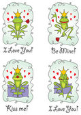 Set valentine's day greeting card with frog prince — Stockvector