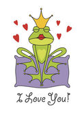 Valentine's day greeting card with the prince frog — Stok Vektör