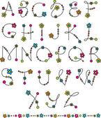 Flower latin alphabet — Stock Vector