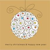 рождественская открытка с мячом — Cтоковый вектор