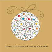 Christmas card with ball — Vector de stock