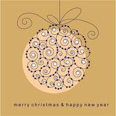 Cartão de natal com bola — Vetorial Stock